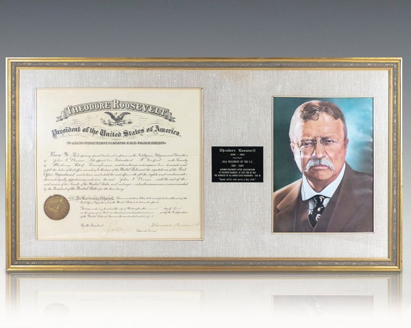 Theodore Roosevelt Signed Document.