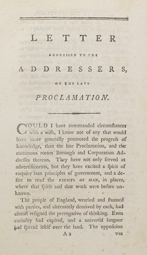 Letter Addressed to the Addressers, on the Late Proclamation.