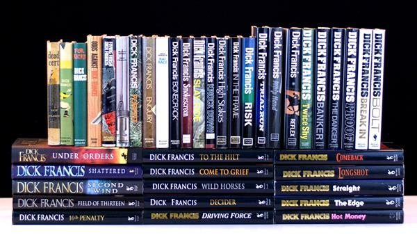Dick Francis Complete Set.  Dead Cert, Nerve, For Kicks, Odds Against, Flying Finish, Blood Sport, Forfeit, Enquiry, Rat Race, Bonecrack, Smokescreen, Slay-Ride, Knock Down, High Stakes, In The Frame, Risk, Trial Run, Whip Hand, Reflex, Twice Shy, Banker, The Danger, Proof, Break In, Bolt, Hot Money, The Edge, Straight, Longshot, Comeback, Driving Force, Decider, Wild Horses, Come To Grief, To The Hilt, 10-lb Penalty, Field Of Thirteen, Second Wind Shattered and Under Orders.