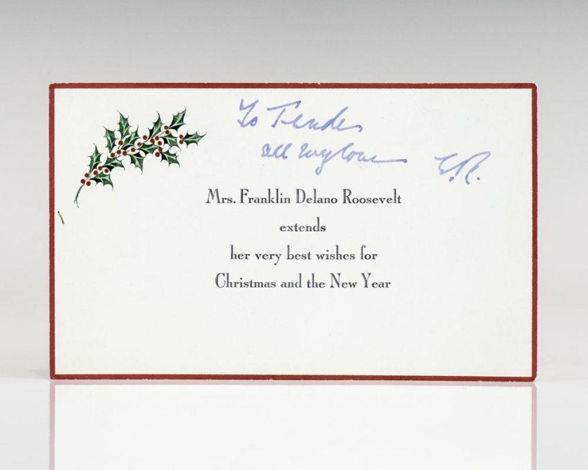 Eleanor Roosevelt Signed Christmas Card.