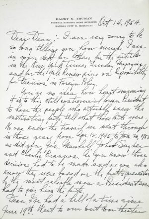 Autograph Letter Signed By Harry S. Truman to Dean Acheson.