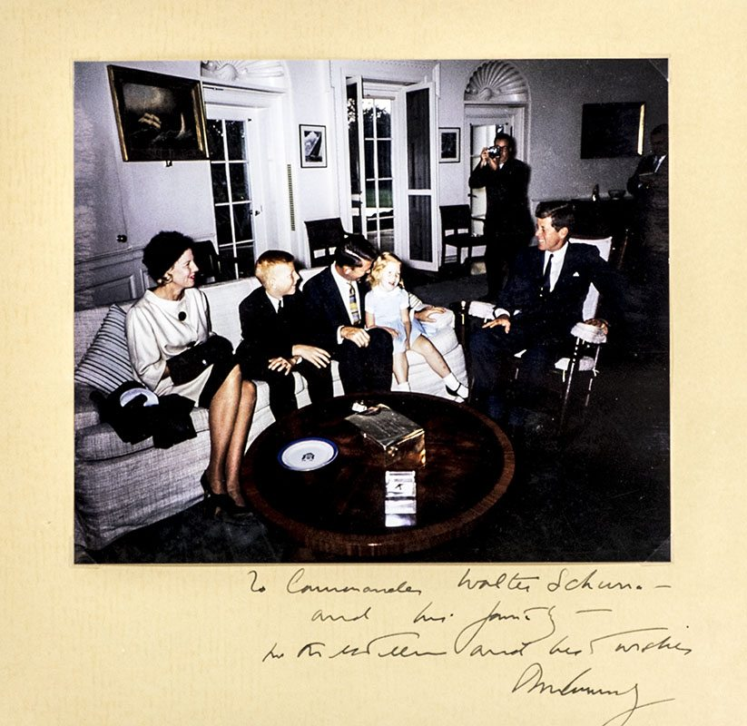 John F. Kennedy Signed Photograph to Astronaut Wally Schirra.