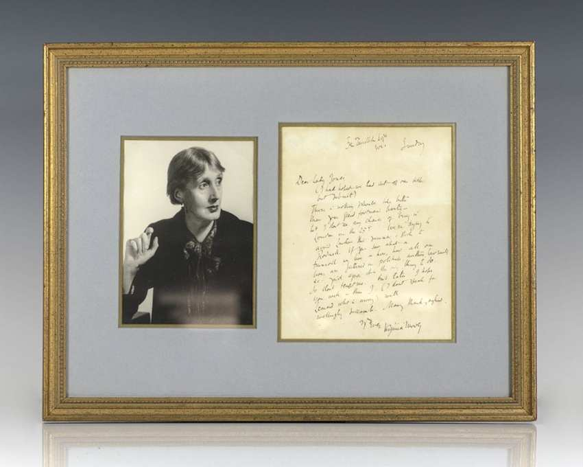 Virginia Woolf Autograph Letter Signed.