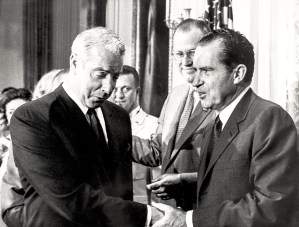 Richard Nixon Autographed Baseball Presented to Joe DiMaggio.