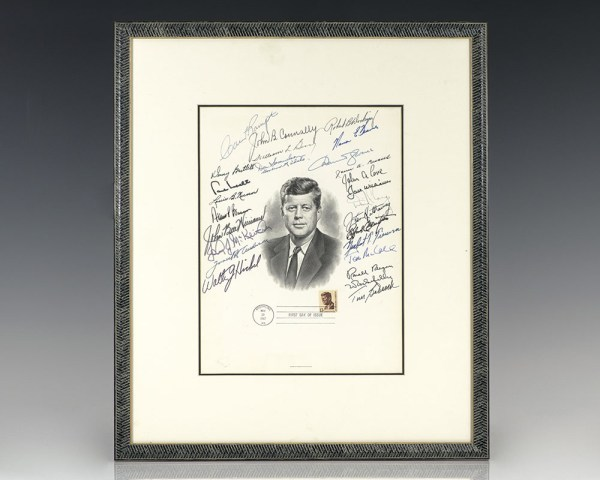 Ronald Reagan Signed John F. Kennedy Engraved Portrait.