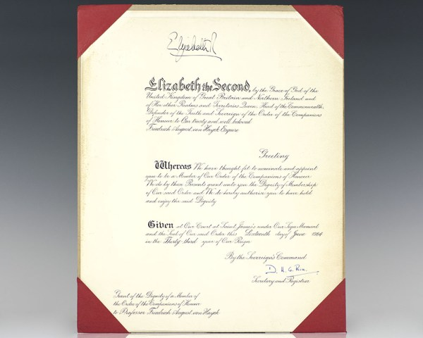 Royal Companion of Honour Appointment: Presented to Friedrich von Hayek by Queen Elizabeth II.