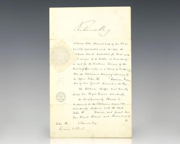 Queen Victoria License to Plead Grant Signed.