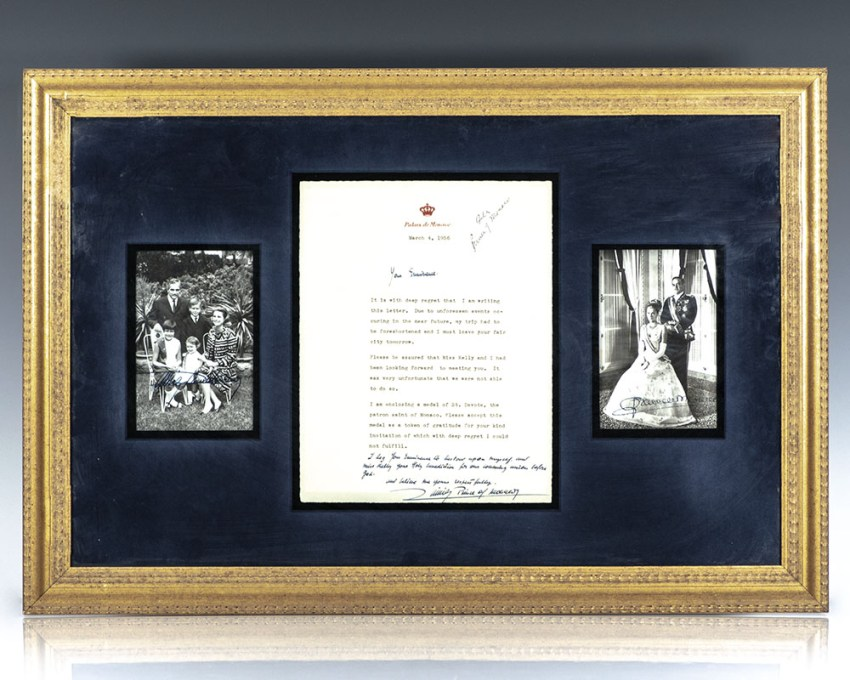 Princess Grace and Prince Rainier Signed Letter and Photographs.
