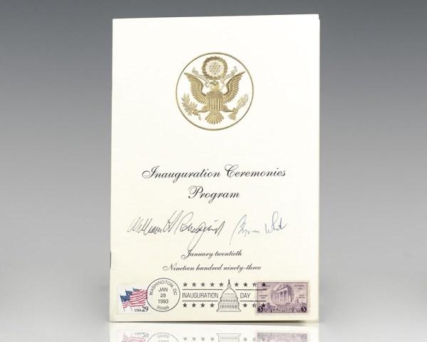 President Bill Clinton Inauguration Ceremonies Program.