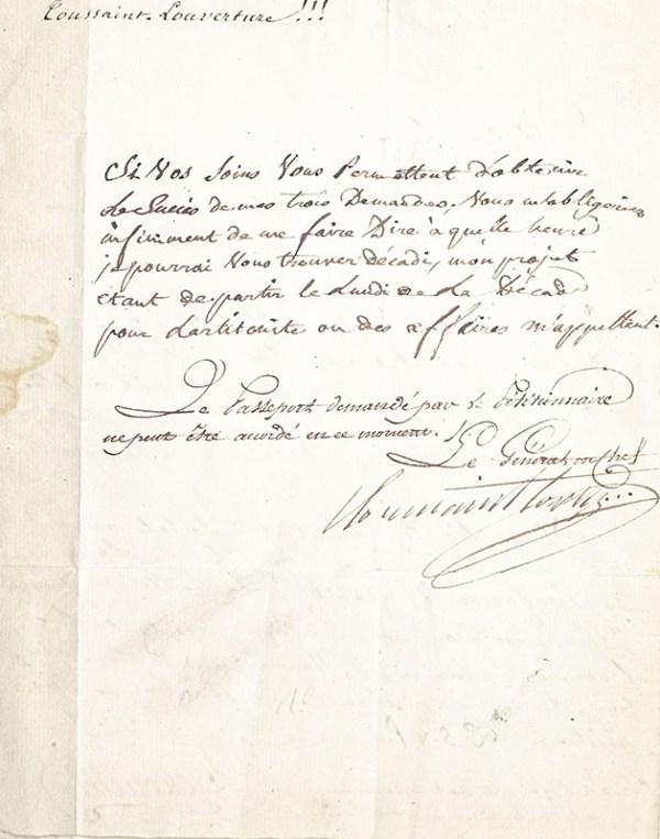 François-Dominique Toussaint L'Ouverture Autograph Letter Signed.