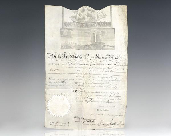 James Madison and James Monroe Signed Ship's Passport.
