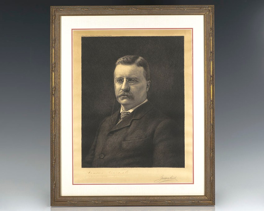 Theodore Roosevelt Signed Etching.