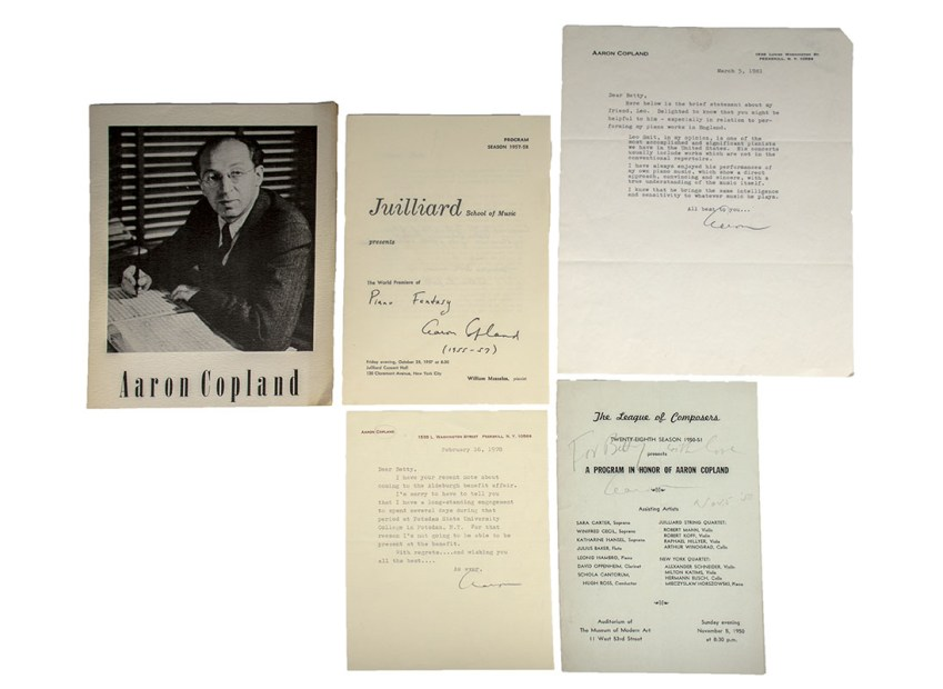 Aaron Copland Autograph Letters and Programs Signed.