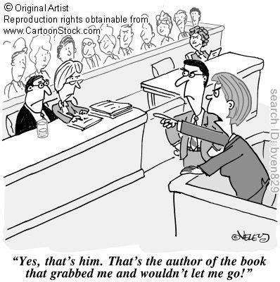 author grabs reader book humor