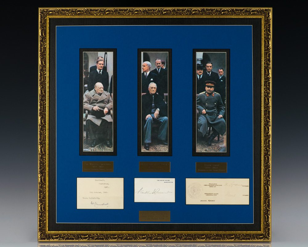 Autographs of Yalta Conference Members Winston Churchill, Franklin D. Roosevelt and Joseph Stalin.