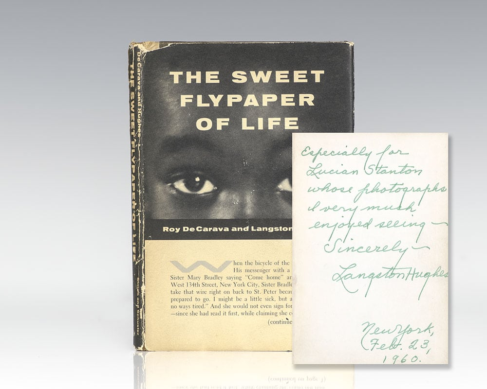 First edition of The Sweet Flypaper of Life; inscribed by Langston Hughes