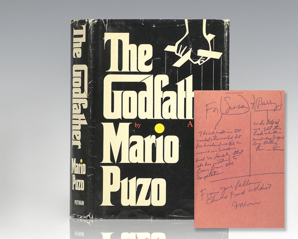First edition of The Godfather; inscribed by Mario Puzo to to Hollywood screenwriter Barry Beckerman and his wife.