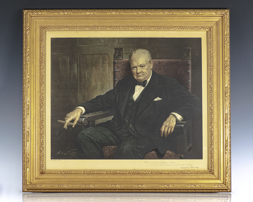 Rare limited print of Arthur Pan's iconic portrait of Winston S. Churchill from the collection of Nobel Prize-winning economist F.A. Hayek.
