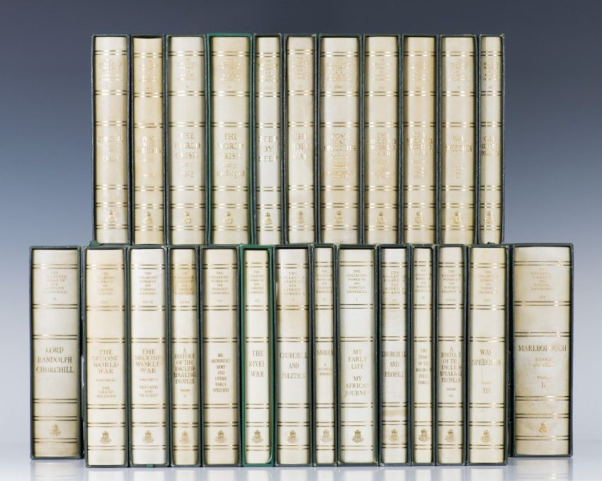 Centenary limited edition of Churchill's Complete Works, one of only 3000 sets produced.