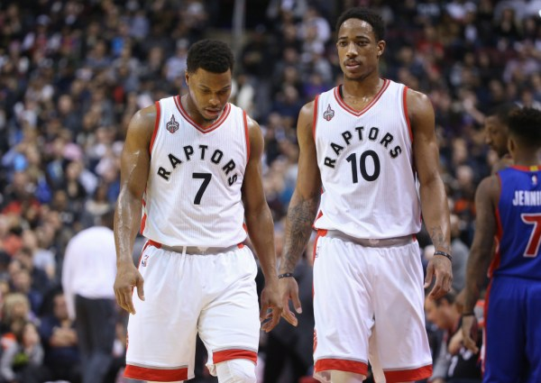 Jan 30, 2016; Toronto, Ontario, CAN; Toronto Raptors point guard Kyle Lowry (7) and guard DeMar DeRozan (10) during their game against the Detroit Pistons at Air Canada Centre. The Raptors beat the Pistons 111-107. Mandatory Credit: Tom Szczerbowski-USA TODAY Sports