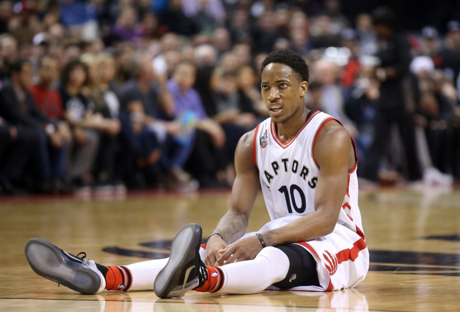 Mar 4, 2016; Toronto, Ontario, CAN; Toronto Raptors guard DeMar DeRozan (10) reacts after being fouled against the Portland Trail Blazers at Air Canada Centre. The Raptors beat the Trail Blazers 117-115. Mandatory Credit: Tom Szczerbowski-USA TODAY Sports
