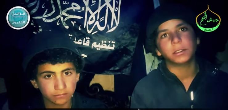 Two 13-year-old boys allegedly fighting with ISIS were captured by al Qaeda branch Jabhat al-Nusra, which released a video of them May 13, 2015. Pictured: A still from the video.