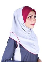 Raqtive Sport Hijab grey burgundy b220