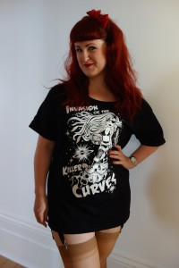 """Nicky Rockets """"Attack of the Killer Curves"""" t-shirt"""