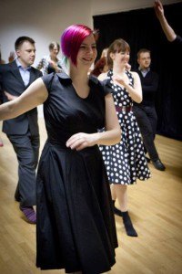 Dancers at an Irreverent Dance swing class.