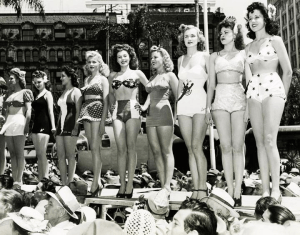 A parade of glamorous 1950s bathing suits