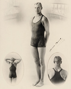 "1920s Speedo advert showing Australian swimmer Arne Borg wearing a ""Speedo Racer Back Costume."""