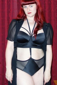Lori wearing Playful Promises Cristina bra and harness knickers, plus a Kiss Me Deadly Elle robe