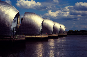 Thames Barrier photographed on Fuji Sensia 400-6, via s3aphotography's Flickr photostream