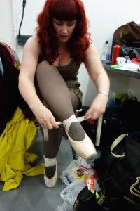 Lori getting ready to perform, backstage at the 2014 Irreverent Dance Showcase