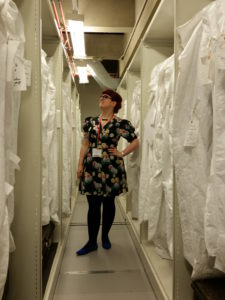 Lori in the Museum of London's dress and textiles archive