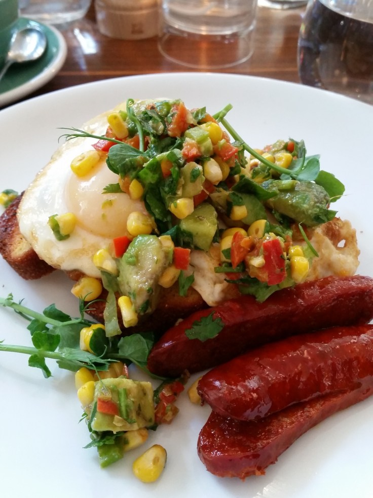 Lori's grilled cornbread and chorizo at The Modern Pantry, Finsbury Square