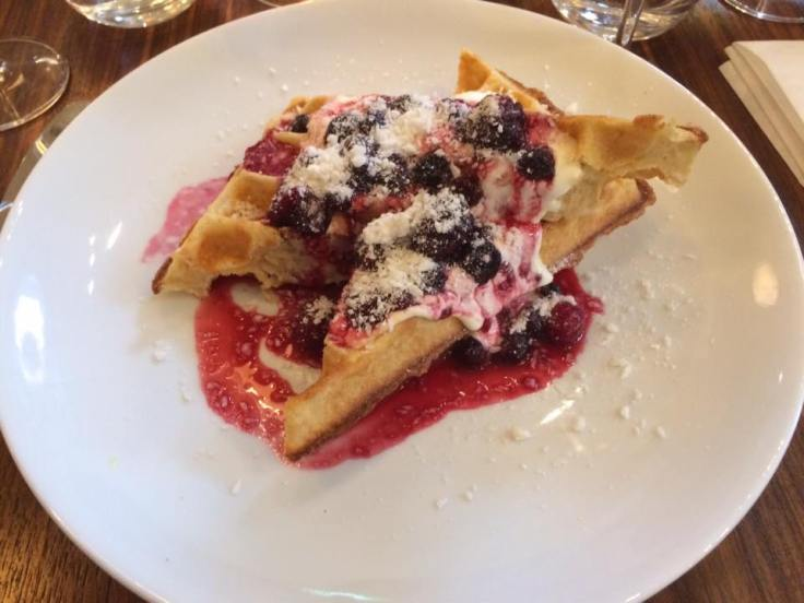 Eleanor's brunch pudding (coconut & cassava waffle with summer berry compote and cr�me fraiche), at The Modern Pantry