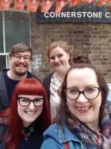 Brunch Club selfie outside the Cornerstone Caf� in Woolwich