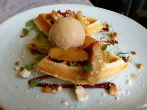 Ed's toffee apple waffle at Duck & Waffle