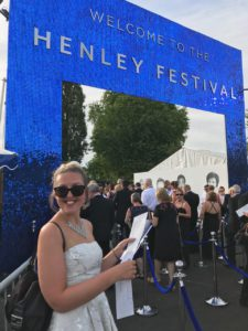 My sister at the sparkly entrance of Henley Festival