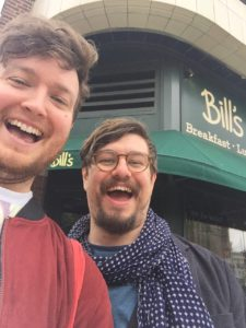 Ed with honorary Brunch Clubber (and now husband!) Rupert, outside Bill's in Muswell Hill
