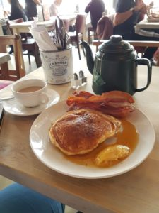 Lou's pancake stack and pot of tea at Bill's in Greenwich