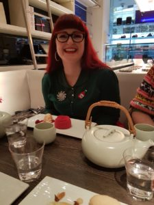 Lori with her Raspberry Delice at Yauatcha