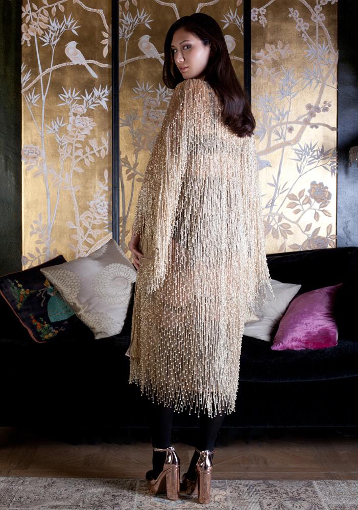 Cassiopeia beaded kimono by Harlow & Fox SS18