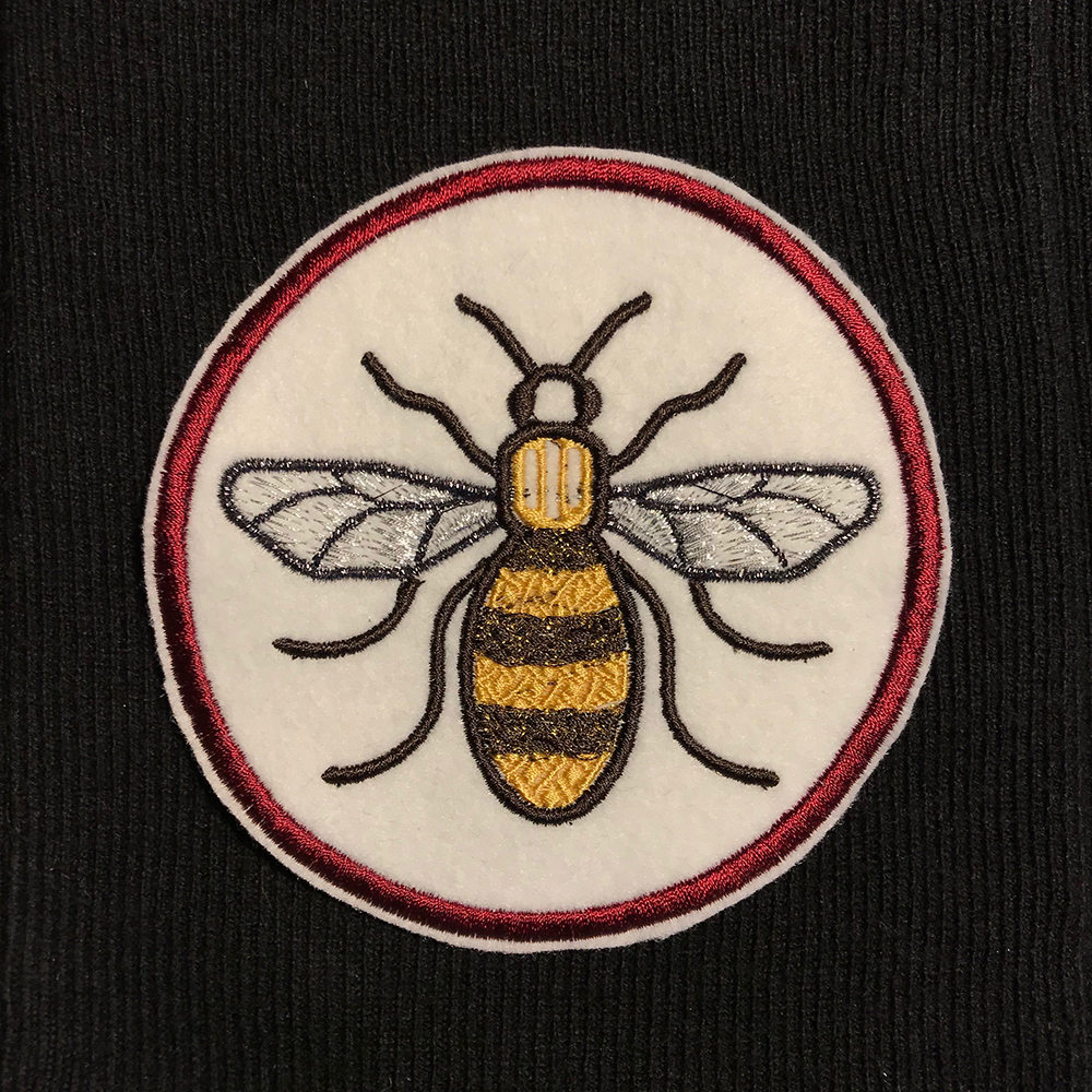 Bee embroidered patch, digitised by Lori at the London Embroidery Studio
