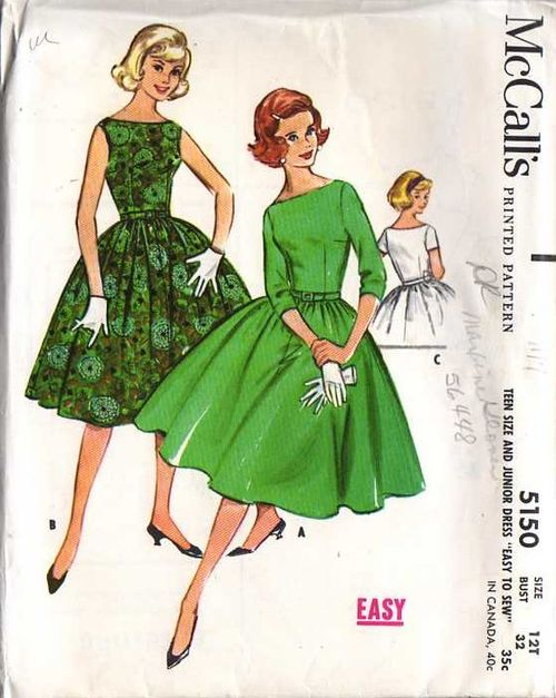 A 1959 Mc Call's sewing pattern featuring a boat neck
