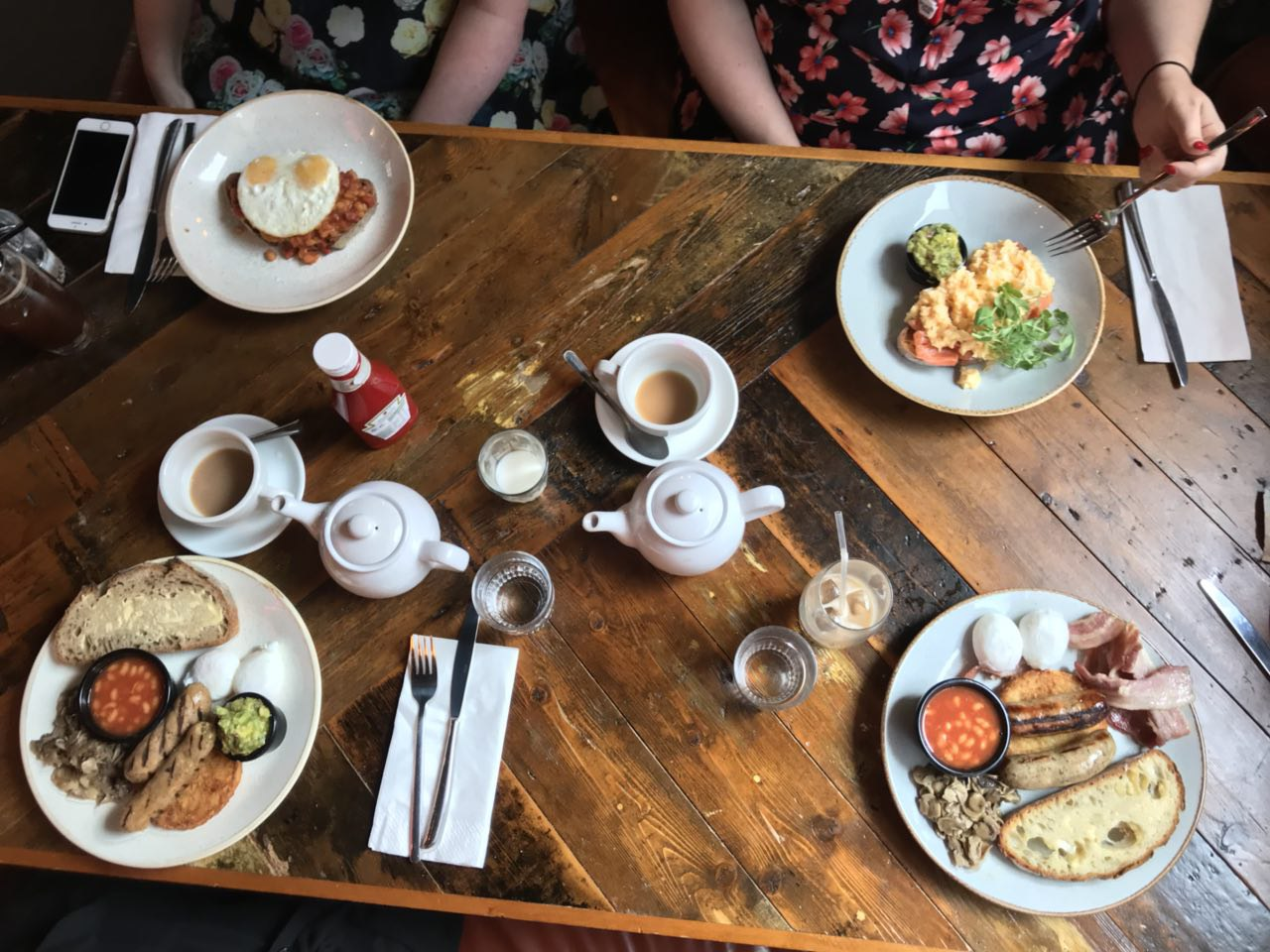Brunch Club's choices on the parquet table at Leadbelly's