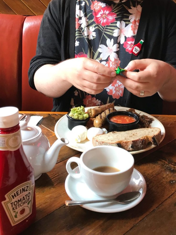 Ed preparing to dig into his veggie full English breakfast at Leadbelly's