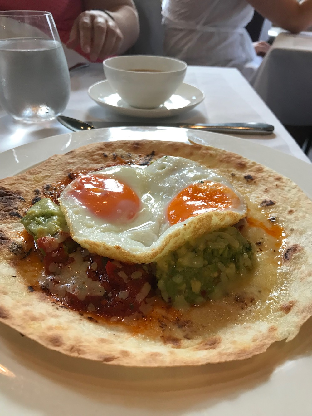 Ed's brunch of Huevos California and tea at Christopher's