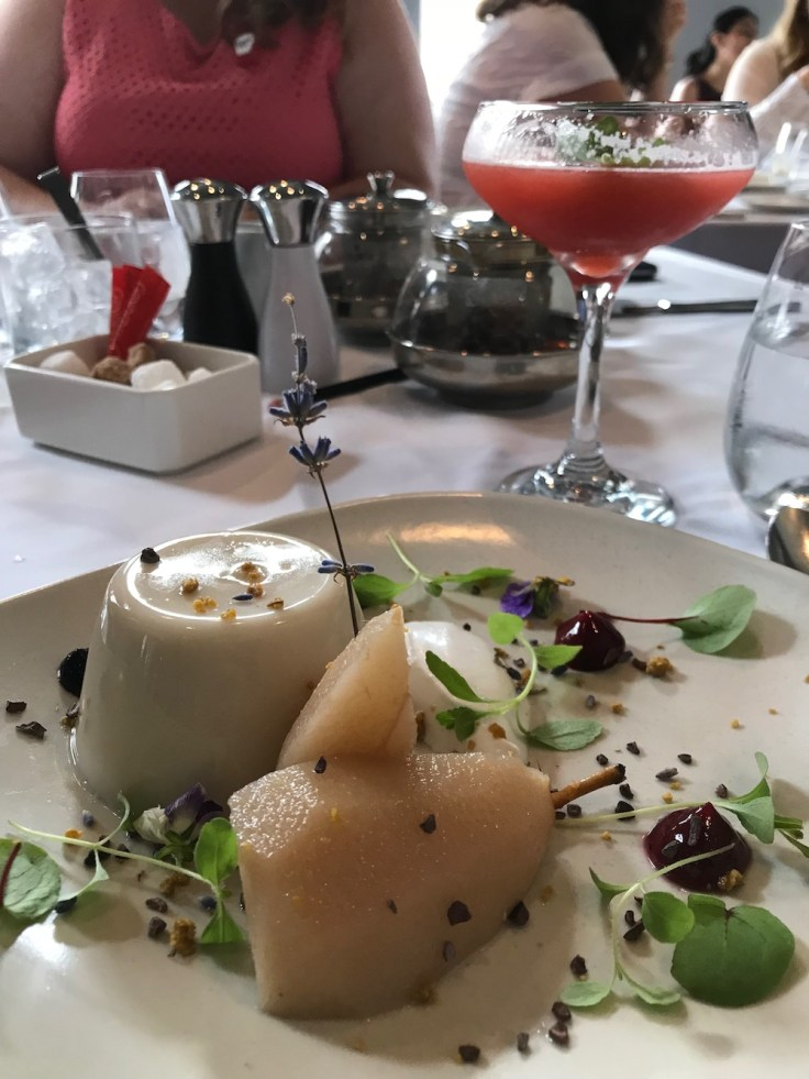 Lori's dairy-free vegan panna cotta and strawberry basil martini at Christopher's